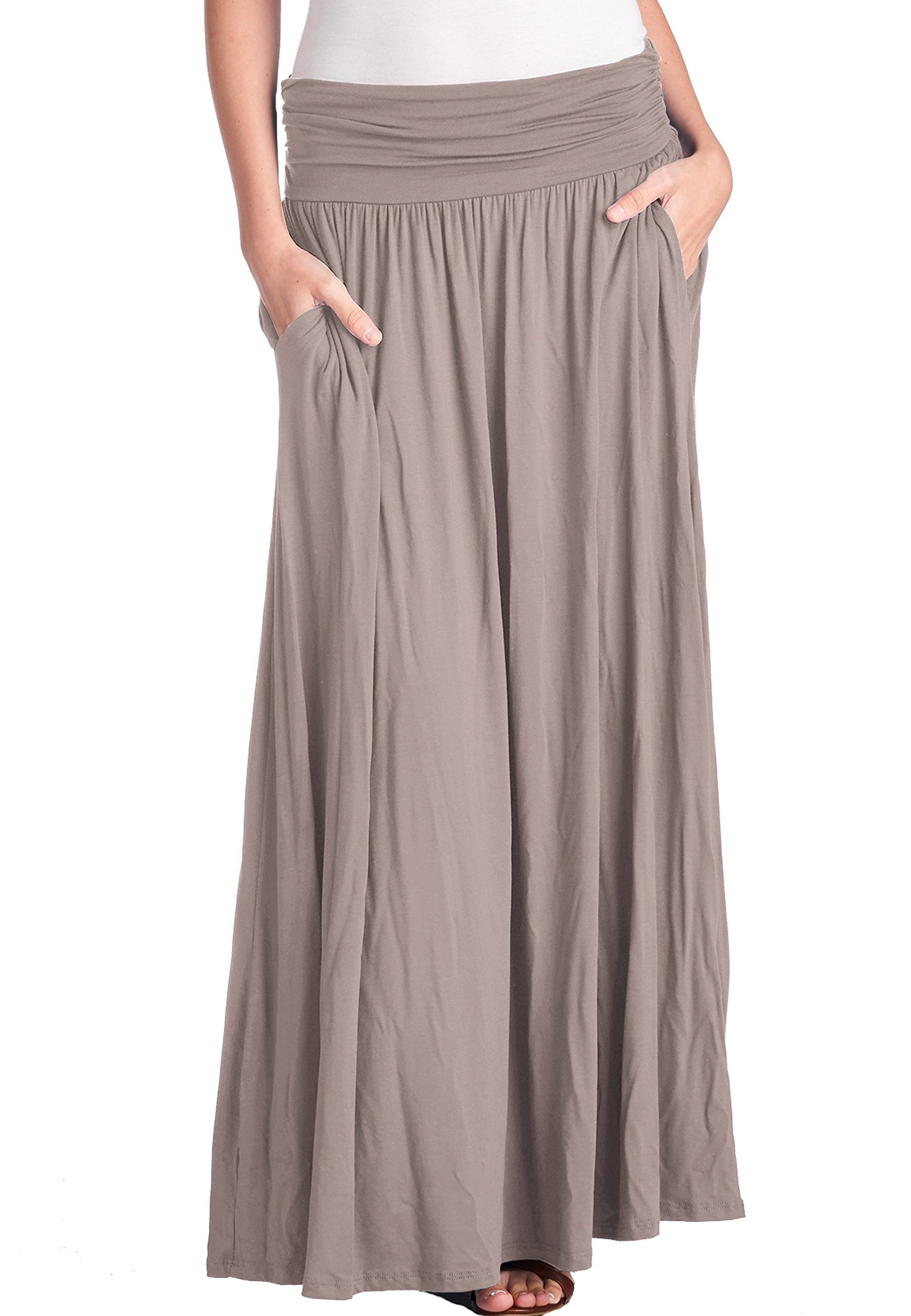 TRENDY UNITED Women's High Waist Fold Over Shirring Maxi Skirt with Pockets ,Toffee-maxi,X-Large