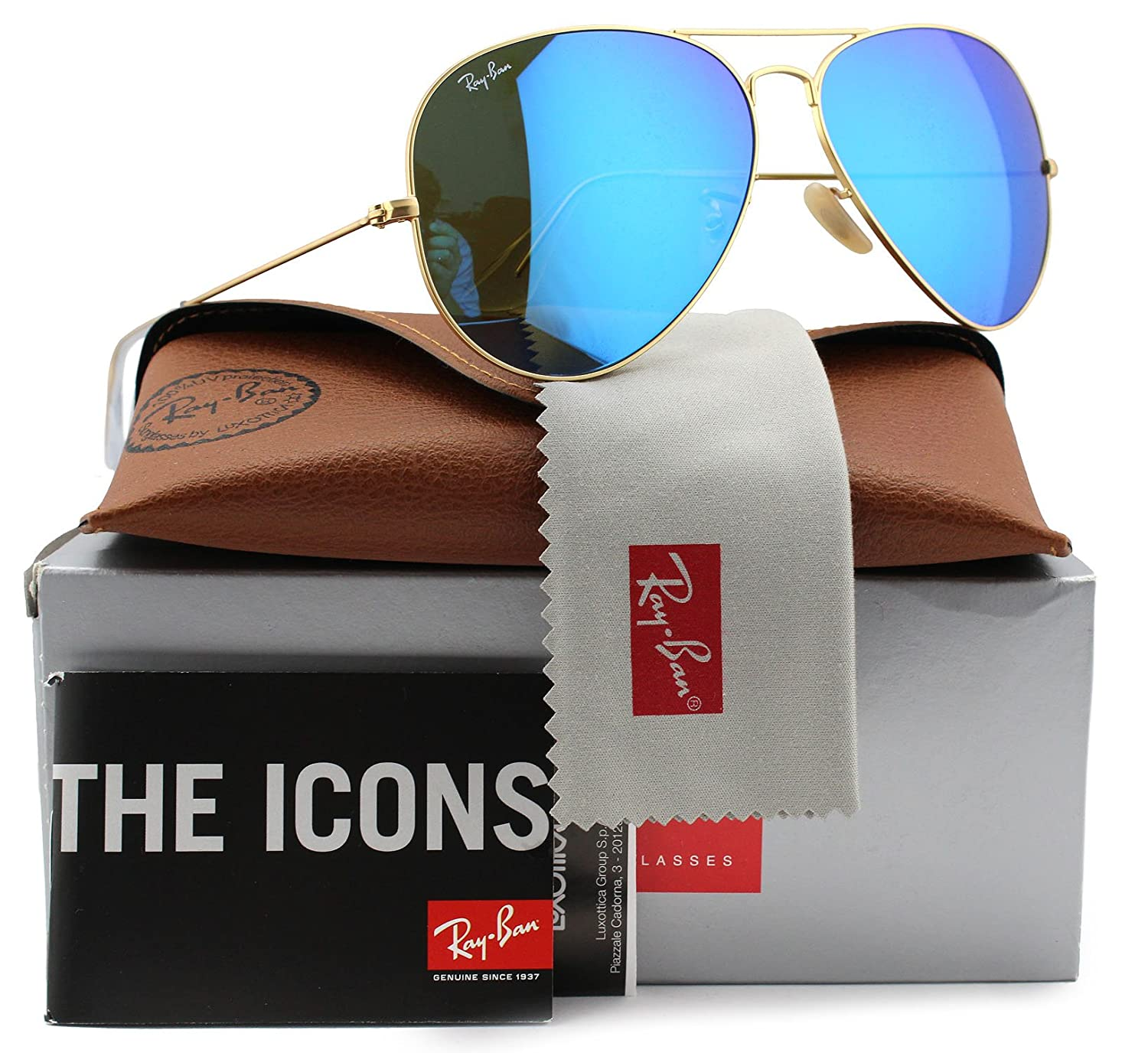 47c5feb592174 Amazon.com  Ray-Ban RB3025 Large Aviator Sunglasses Matte Gold w Blue Mirror  (112 17) 3025 11217 62mm Authentic  Clothing