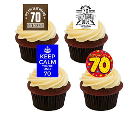 70th Birthday Male Funny Edible Cupcake Toppers