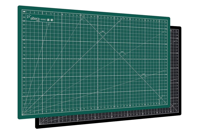 Altera PRO, tappetino da taglio professionale A1 (60 x 90 cm), autorigenerante, verde/nero, su entrambi i lati con griglia CMPGBA1