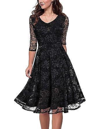 126b5880dc09 Amazon.com  MARI CIAS Women s Vintage V-Neck Knee Length Floral Lace ...