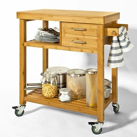 SoBuy® Carrello di servizio, Carrelli per cucina,mensola angolare,in Bambù,  FKW26-N (L73*L45*A92cm). IT