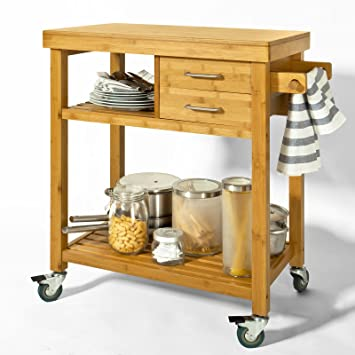 Sobuy Fkw26 N Meuble Rangement Cuisine Roulant En Bambou Chariot De Cuisine Desserte à Roulettes Kitchen Trolley L73xp45xh92cm