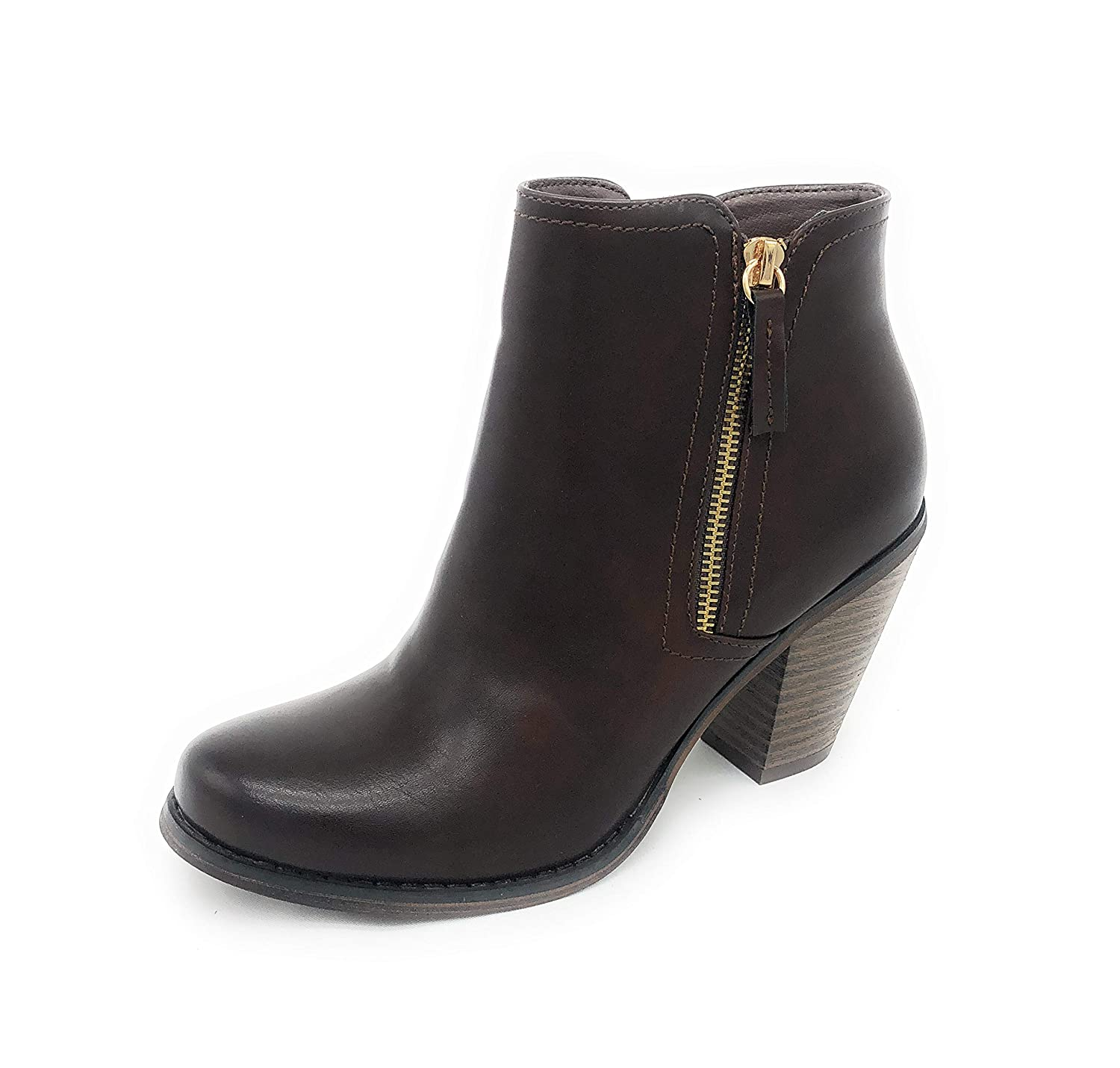 Brown-irene-07 SOLE COLLECTION Faux Leather Suede Strap Side Zipper Chunky Block Heels Dress Ankle Boots