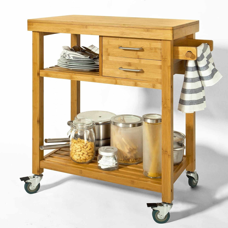 SoBuy® FKW26-N Servierwagen, Küchenwagen, Rollwagen m. Schublade und Handtuchhalter Bambus, BHT ca: 73x92x45cm