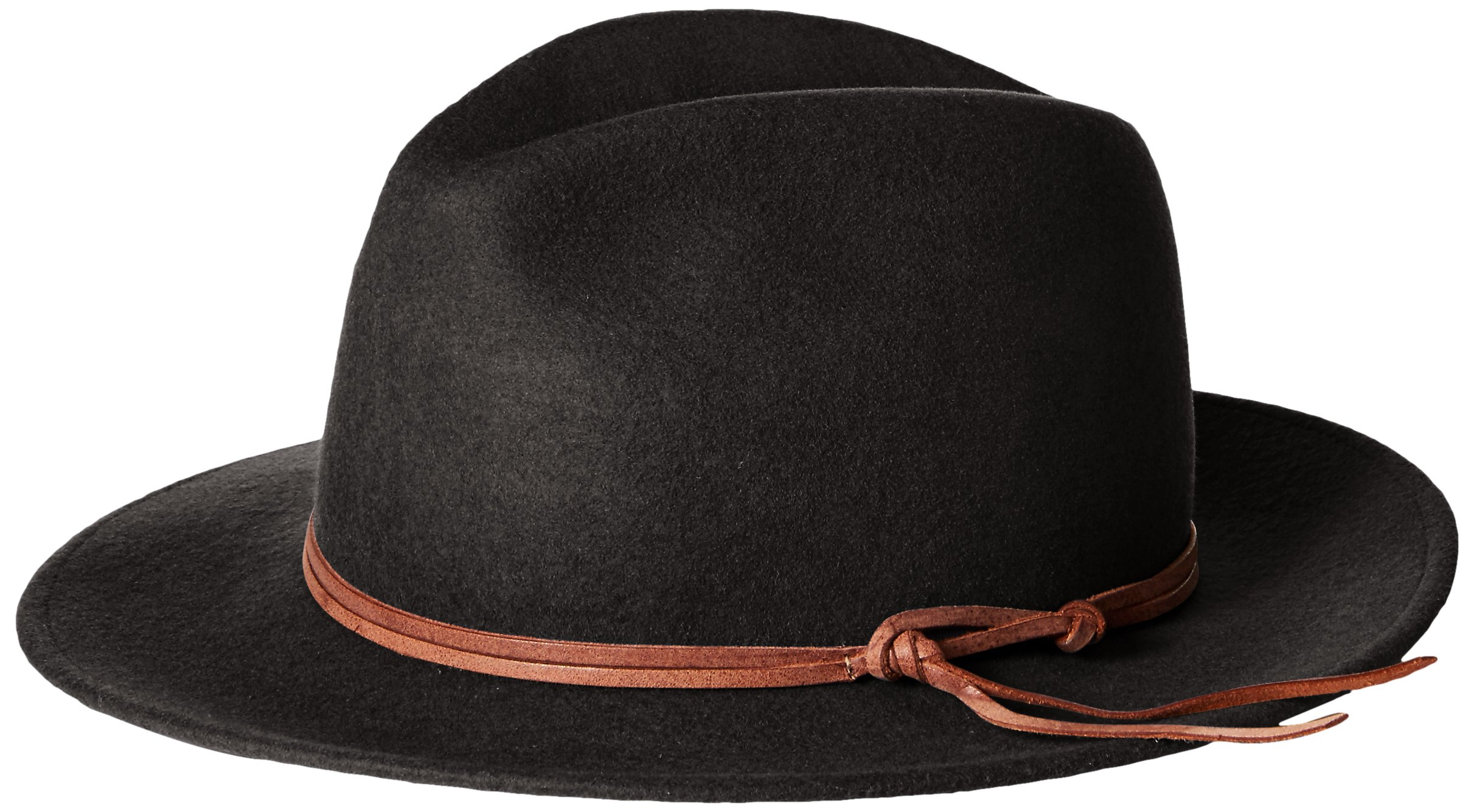 'ale by alessandra Women's Aurora Classic Adjustable Wool Felt Fedora Hat With Leather Trim and UPF 50+, Black, Adjustable Head Size by ale by Alessandra