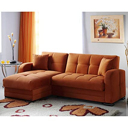 White Faux Leather Couch Left Chaise Orange Sectional Sofa Set ...