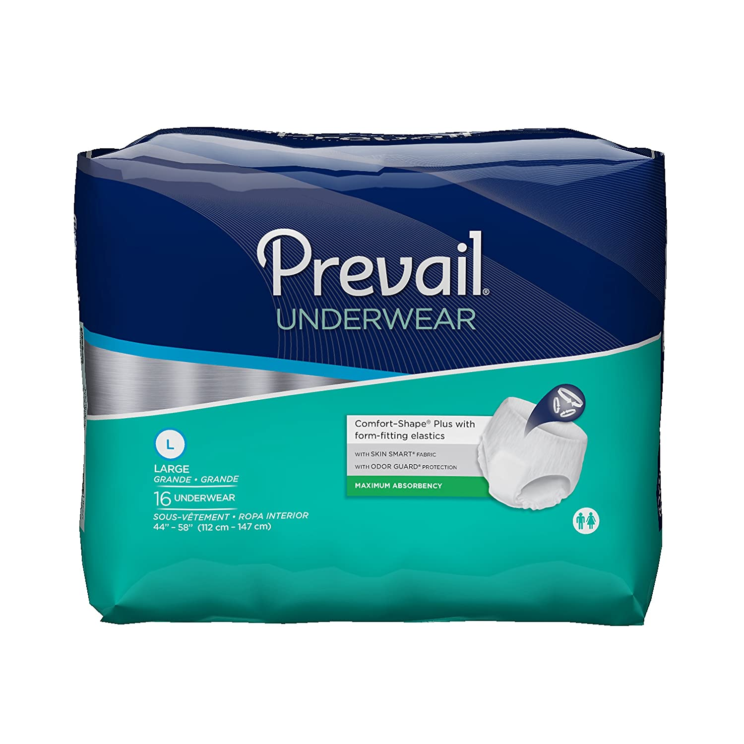 Amazon.com: Prevail Maximum Absorbency Incontinence Underwear, Large, 16-Count (Pack of 4): Health & Personal Care