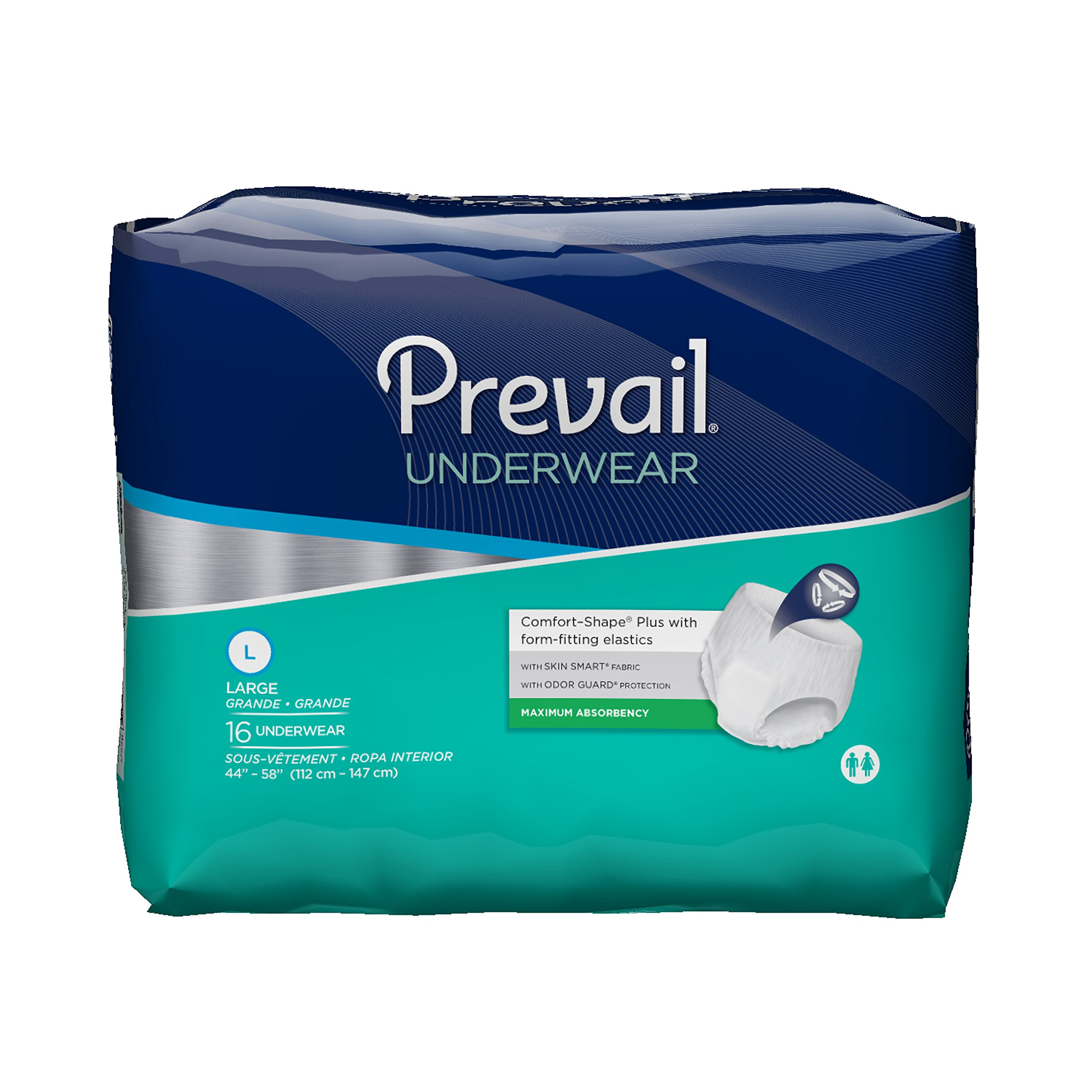 Prevail Maximum Absorbency Incontinence Underwear, Large, 16-Count (Pack of 4)