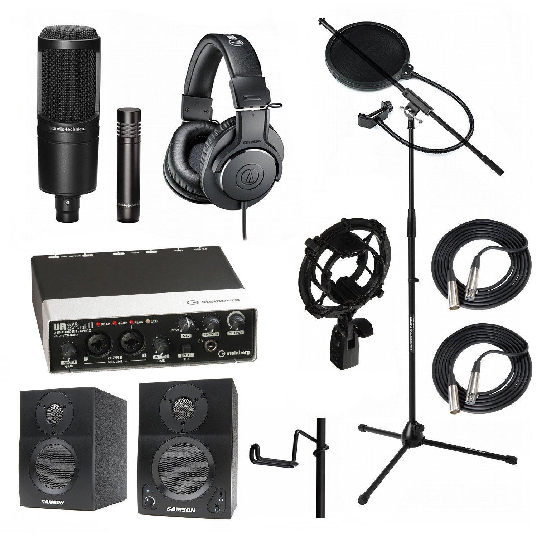 Home Recording Studio Bundle Audio Technica AT2041SP ATH-M20x AT8458 Stand Steinberg UR22MKII Samson Media ONE BT3 Speakers