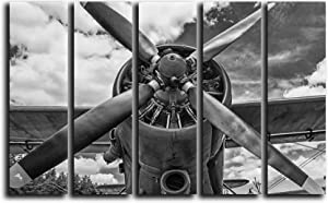 Big 5 Piece Vintage Airplane Prop Wall Art Decor Picture Painting Poster Print on Canvas Panels Pieces - Aviation Theme Wall Decoration Set - Propeller Wall Picture for Living Room Office 35 by 55 in