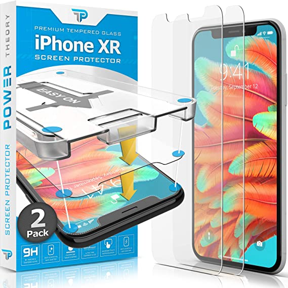 Power Theory iPhone XR Glass Screen Protector [2-Pack] with Easy Install  Kit [Premium Tempered Glass]