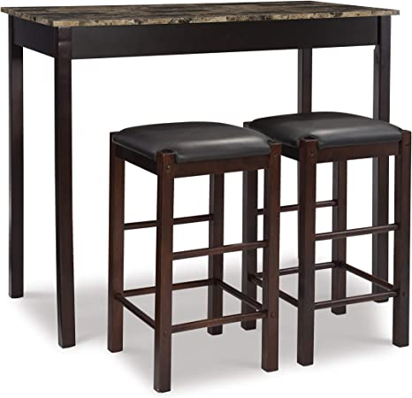 Amazon Com Linon Brown 3 Piece Table Faux Marble Tavern Set 42 W X 22 25 D X 36 H Table Chair Sets
