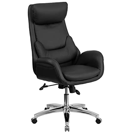 Flash Furniture High Back Black Leather Executive Swivel Chair With Lumbar  Pillow And Arms