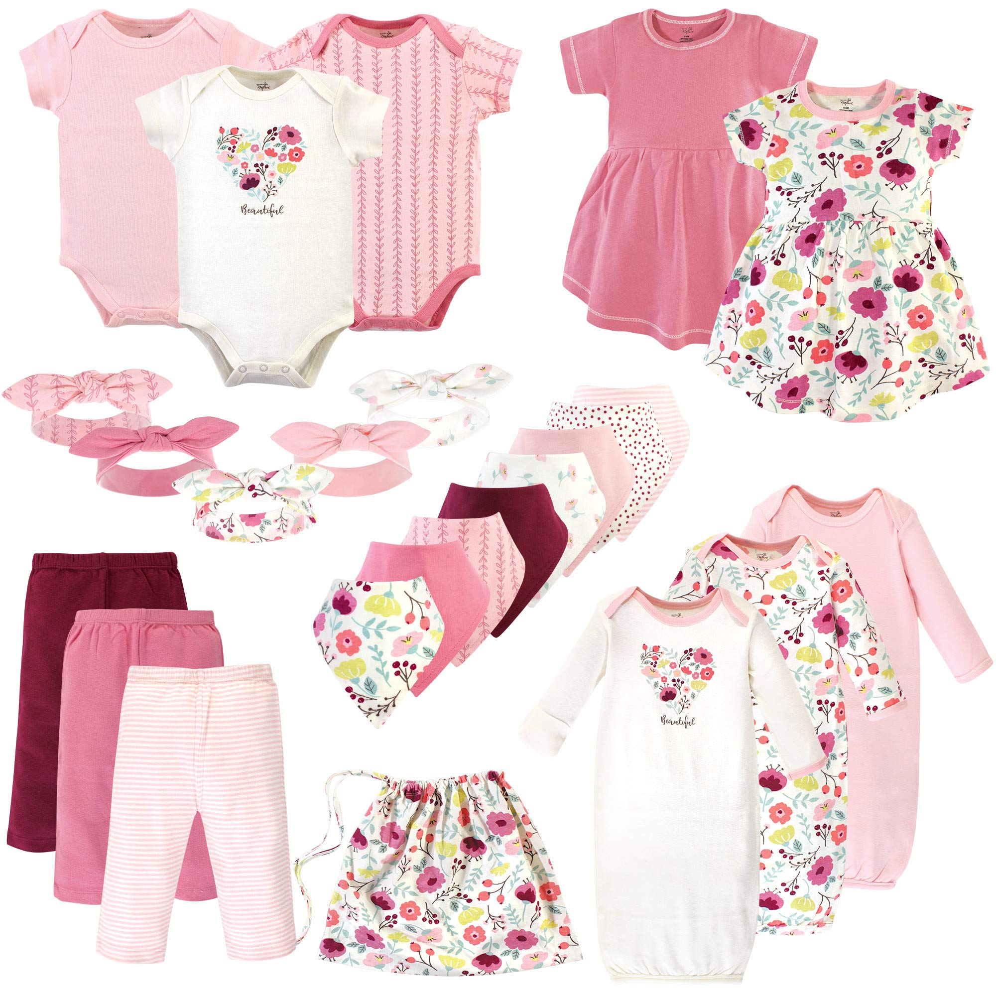 Touched by Nature Unisex Baby Girls Layette Giftset Bundle with Laundry Bag, Botanical Pack, 0-6 Months (6M) by Touched by Nature