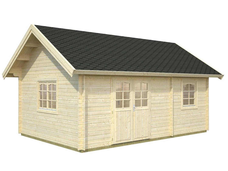 Palmako Blockbohlenhaus Sandra 29,9 44 mm natur mit Schlafboden