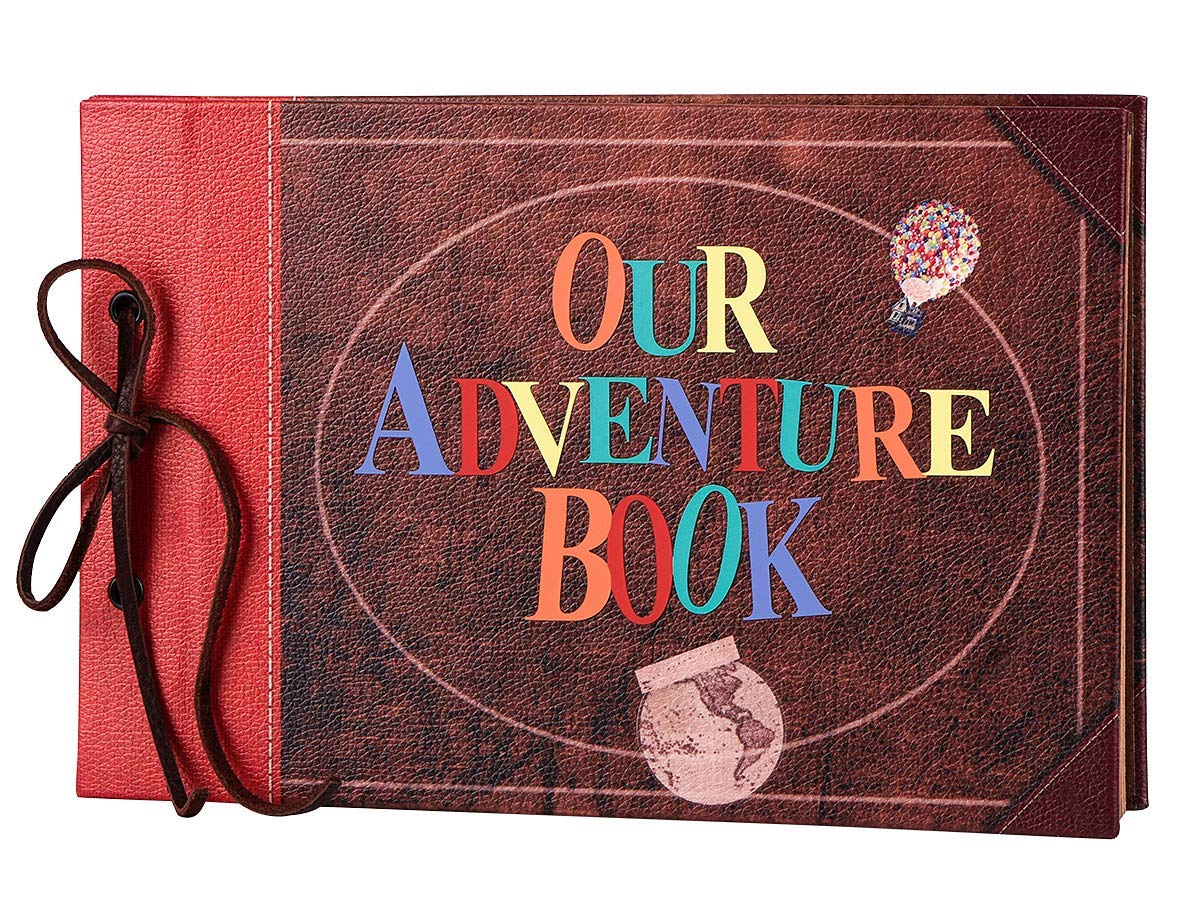 LINKEDWIN Our Adventure Book, Leather Cover with Convex Words, Up Themed Vintage Scrapbook Album, Wedding Guest Book, 11.6 x 7.5 inch, Retro Craft Cardstock, 60 Pages