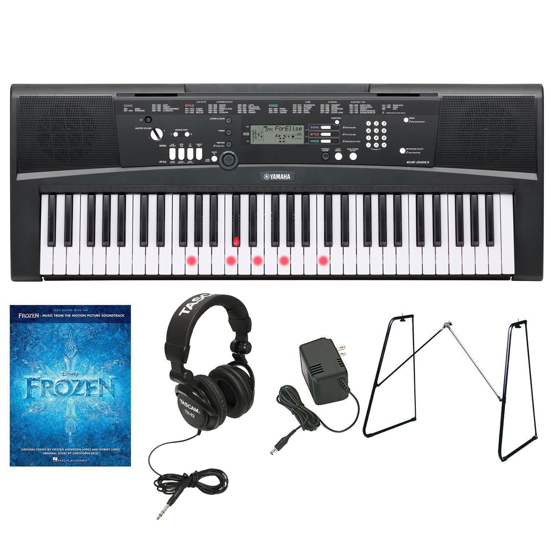 Yamaha EZ-220 61-Lighted Key Keyboard w/ Yamaha L3C Keyboard Stand,Power Adapter,Headphones & Frozen Music Book