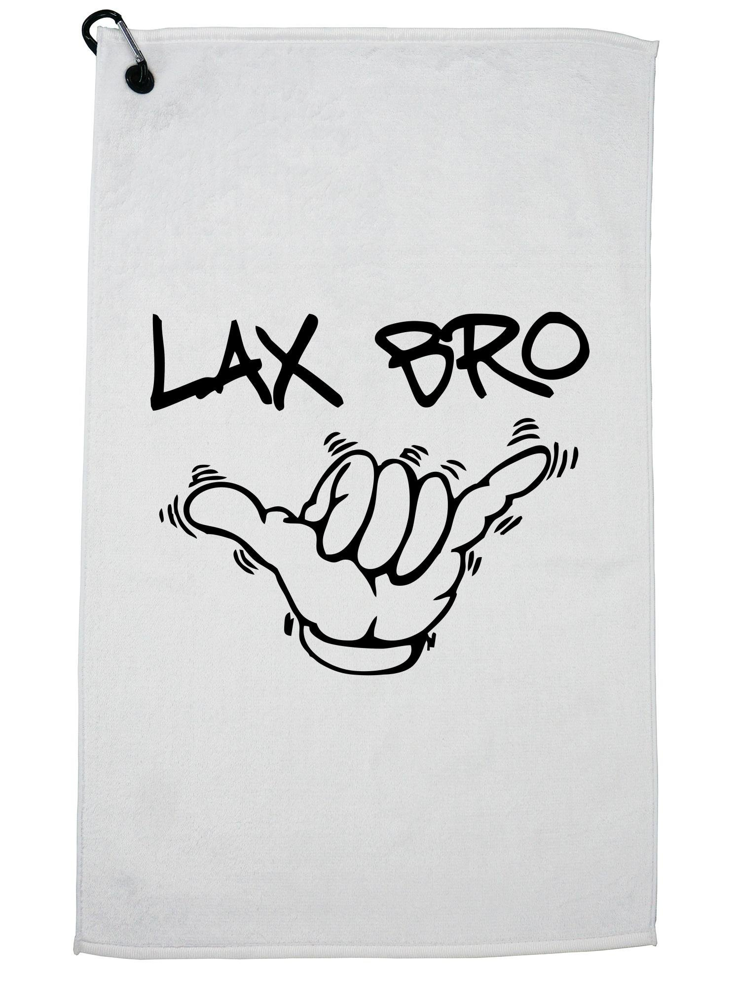 Hollywood Thread Lax Bro Lacrosse Hang Loose Hand Grahpic Golf Towel with Carabiner Clip