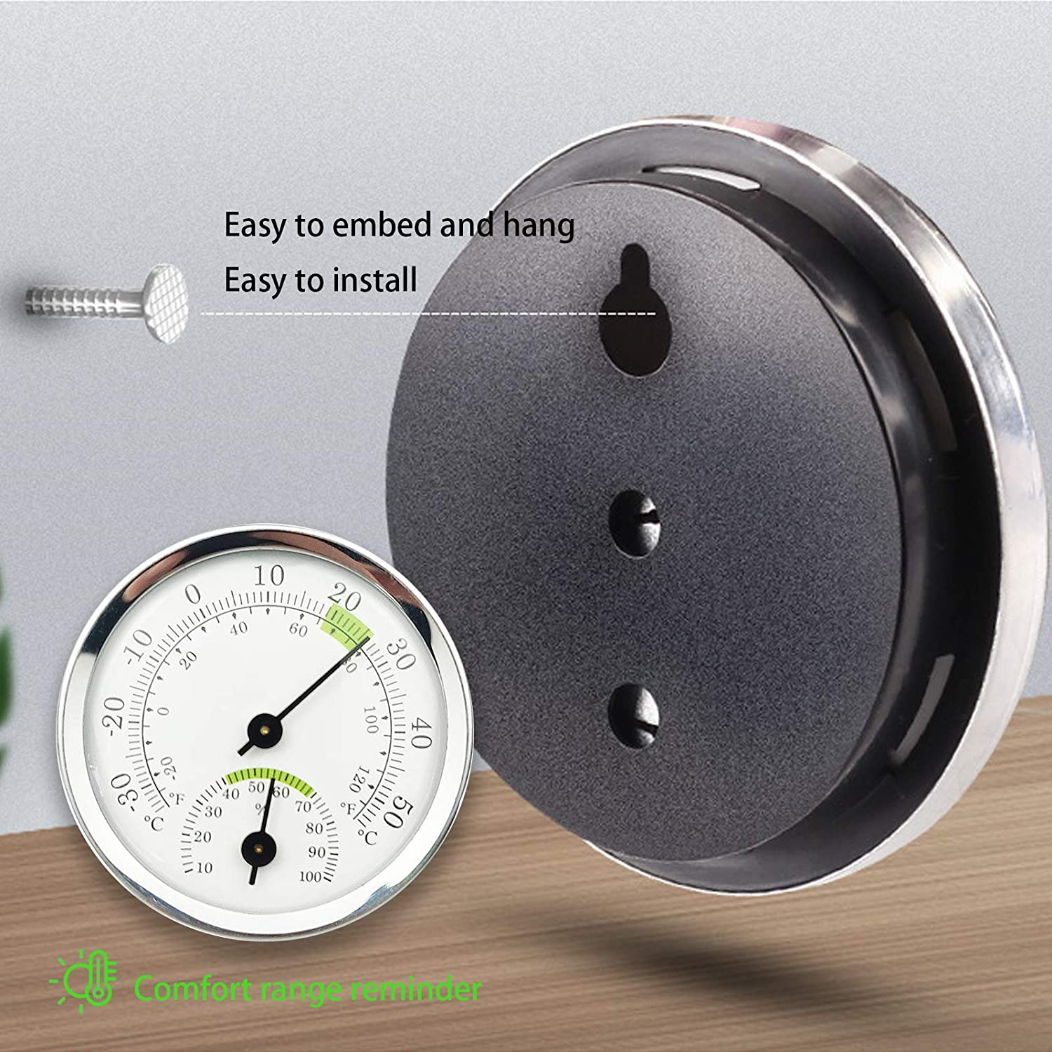 Greenhouse or Decorative Round 2.28 in Diameter No Battery Required Indoor Outdoor Thermometer Hygrometer Car Mini Wireless Thermometer for Room Kitchen