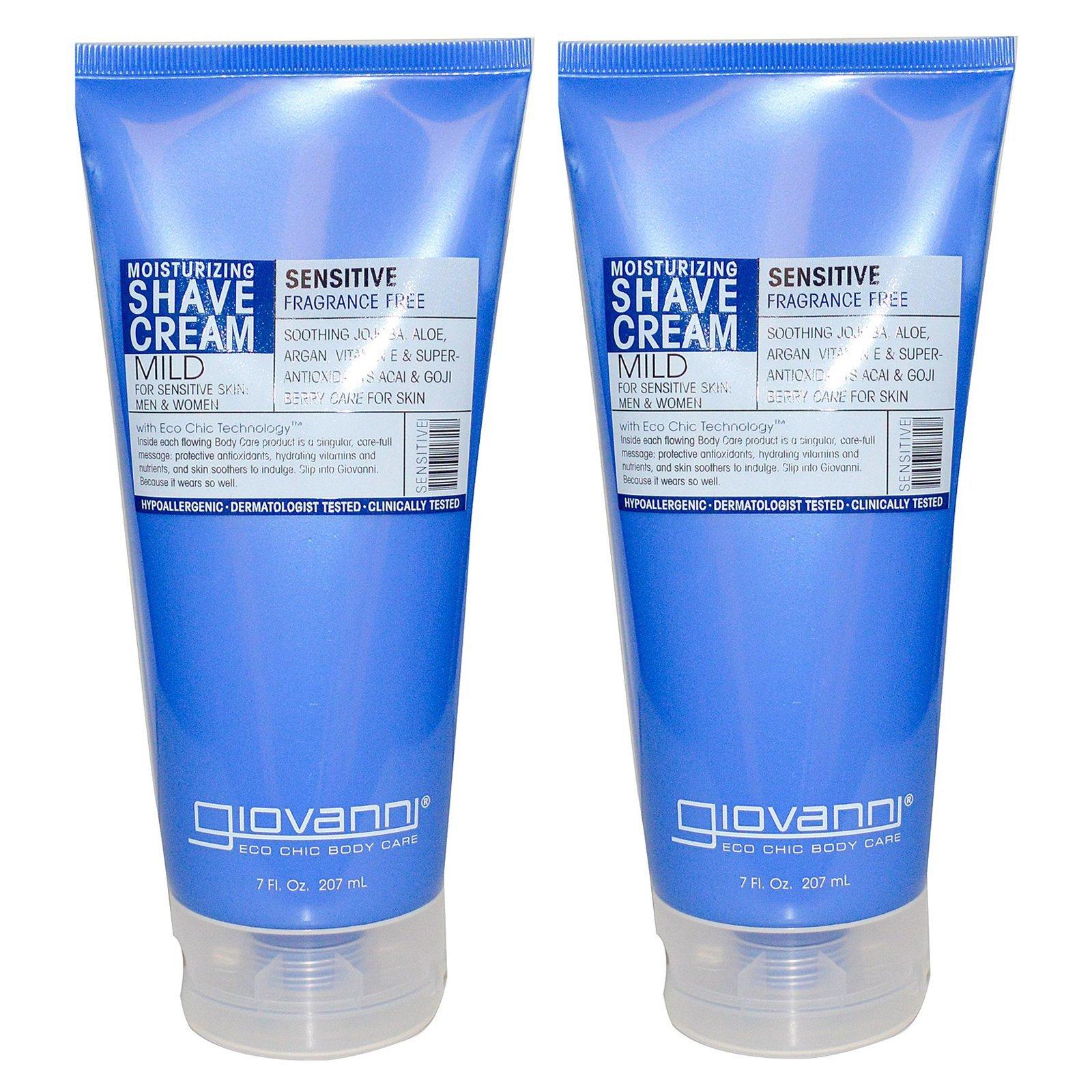 Giovanni Moisturizing Sensitive Shave Cream For Men and Women With Soothing Jojoba, Aloe, Argan, Vitamin E, 7 fl oz (207 ml) (Pack of 2)