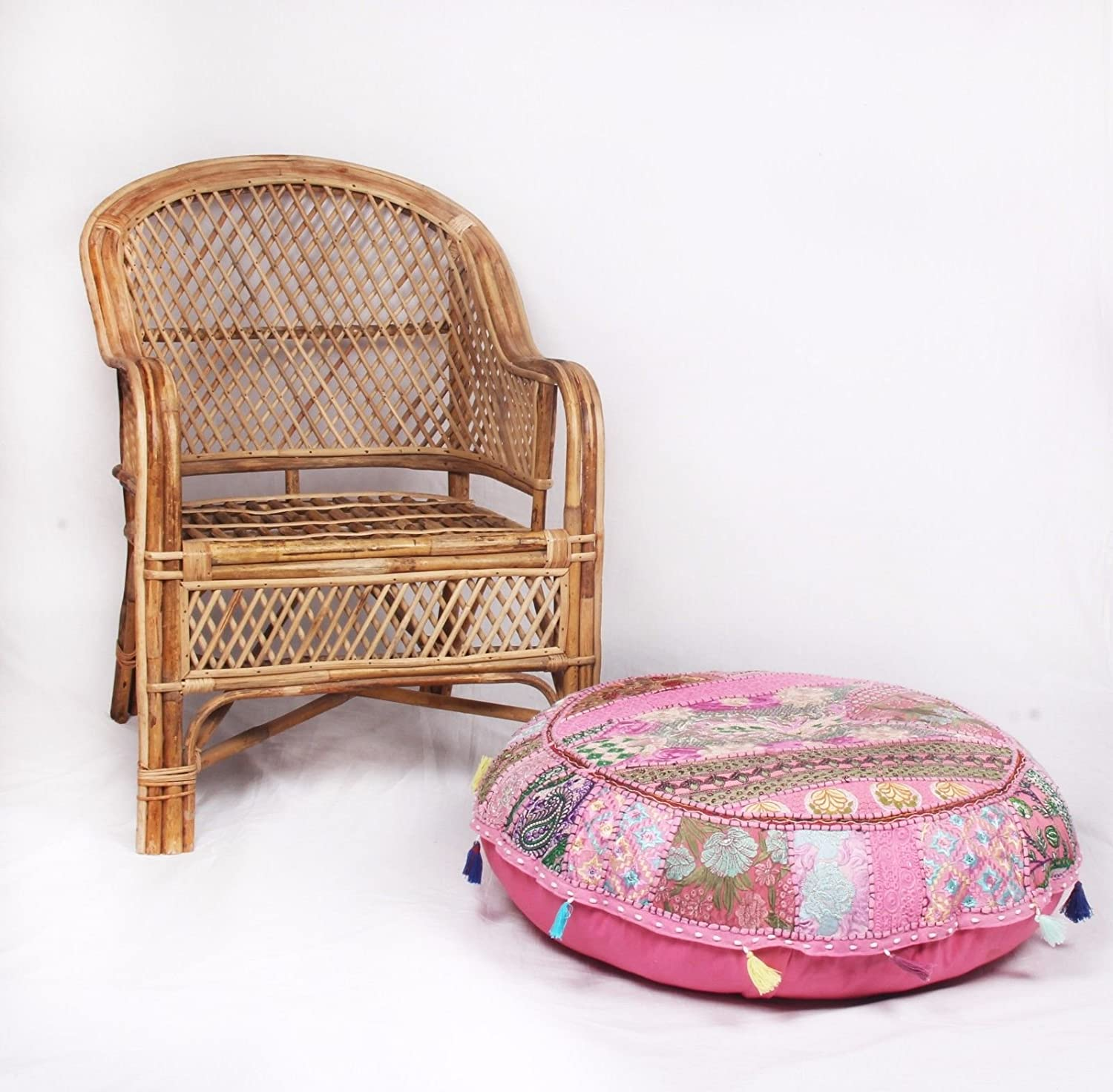 Beautiful Decorative Ruond Ottoman Indian Patchwork Pouffe,Indian Traditional Home Decorative Handmade Cotton Ottoman Patchwork Foot Stool, Embroidered Chair Cover Vintage Pouf 32 (Pink Sophia Art