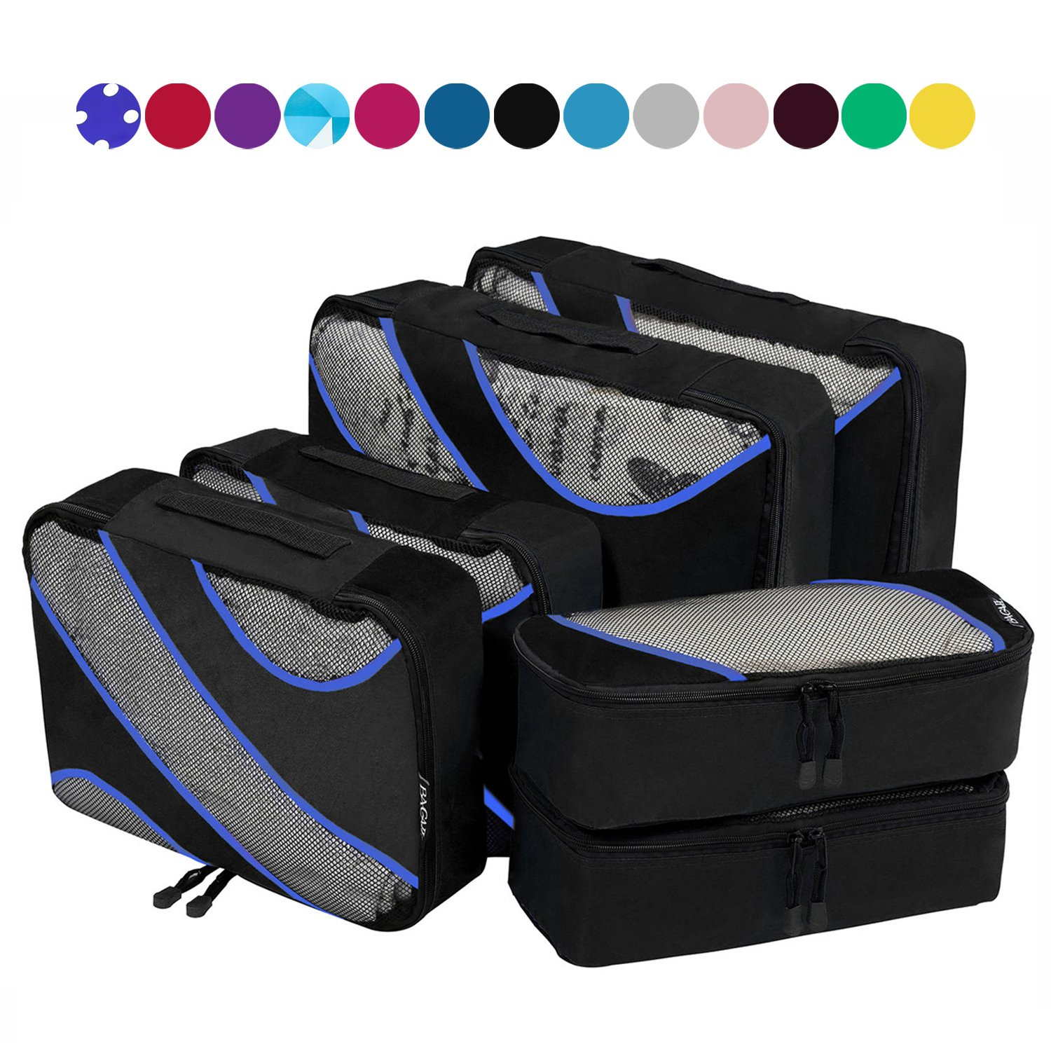 6 Set Packing Cubes,3 Various Sizes Travel Luggage Packing Organizers Black by BAGAIL