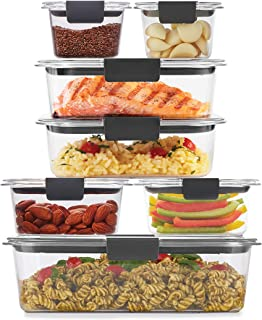 product image for Rubbermaid Brilliance Storage 14-Piece Plastic Lids | BPA Free, Leak Proof Food Container, Clear
