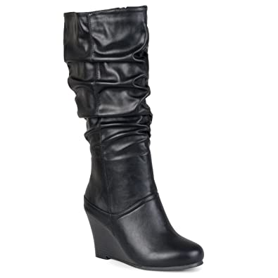 b4f0266c4577 Journee Collection Womens Regular Sized and Wide-Calf Slouch Knee-High  Wedge Dress Boots