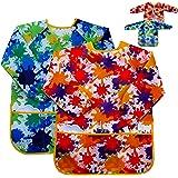 Delantal de pintura para niños – (paquete de 2) manga larga y 2 bolsillos para hornear, comer, arte y manualidades para…