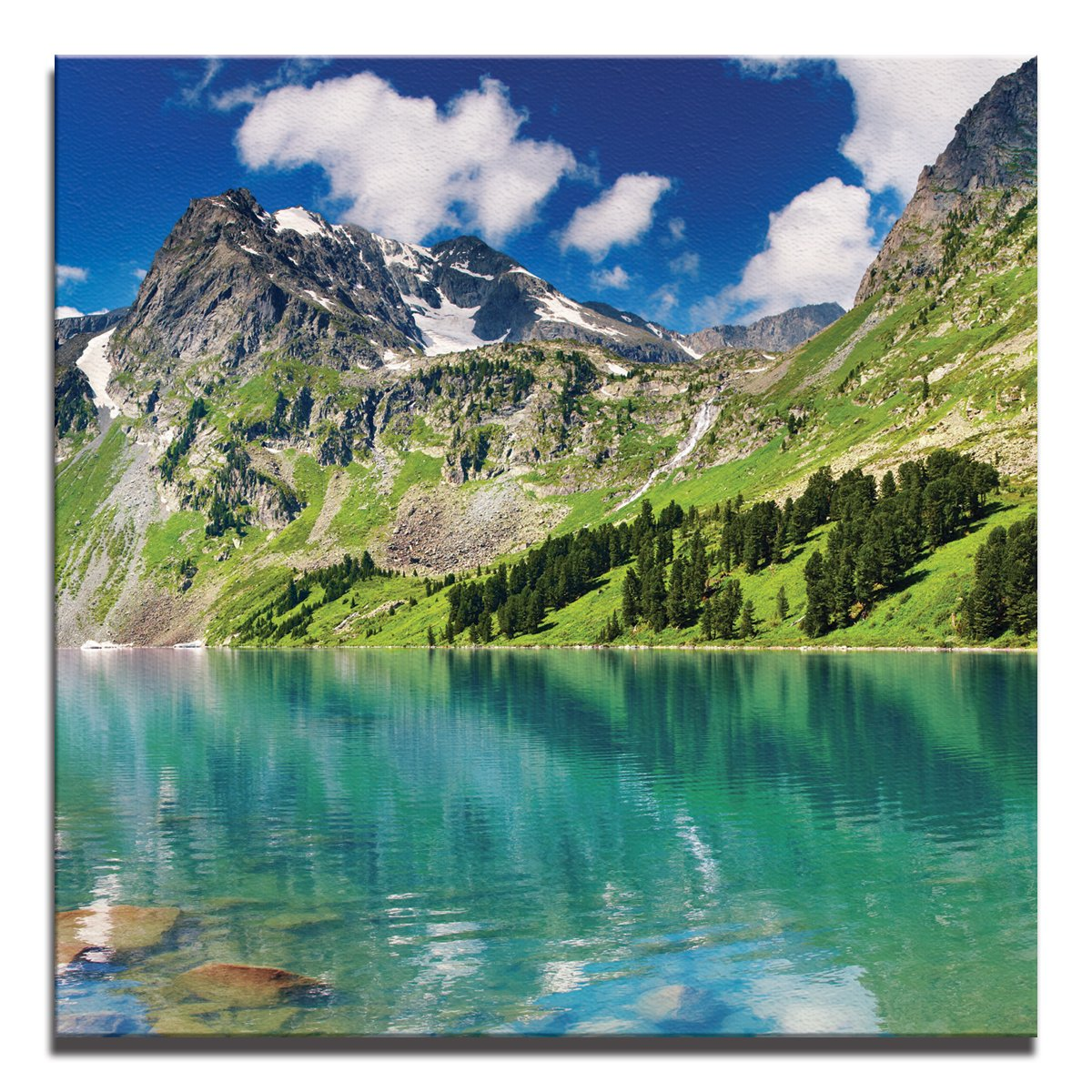 JP London Ready to Hang Made in North America Gallery Wrap Heavyweight Canvas Wall Art Banff Glacier Mountain Pond 14in SQSCNV2082