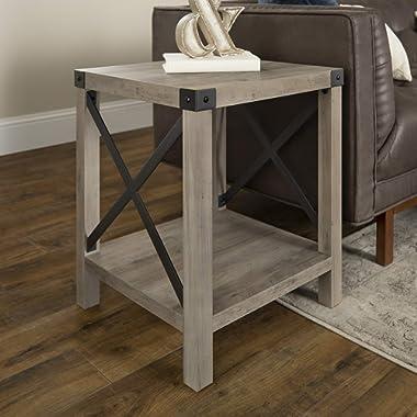 WE Furniture AZF18MXSTGW Side Table, 18 , Grey Wash