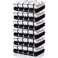 KUULE- tea TOWELS, 100% SOFT NARURAL COTTON, (12 PACK-black towels)- TOkitchen WEL GREAT FOR WHITE KITCHEN DISHCOLOTHS…