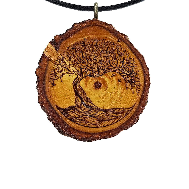La natura Vegan Significato Ciondolo in legno Gioielli naturali Regalo SOULSLICES Albero della vita 19 Catena di legno Donne Sostenibile Decorazione di rami Yoga Incisione