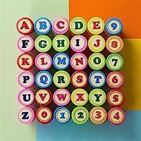 Kesote 36 x stempels, letters, cijfers, stempelset, kinderen, zelfkleurend, eerste schooldag, cadeau voor school