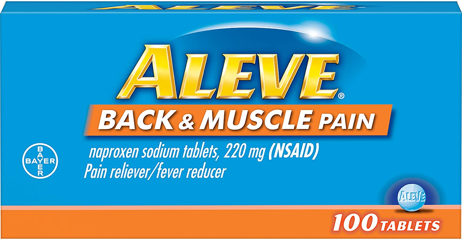 Aleve Back and Muscle Pain Tablets, Fast Acting All Day Targeted Relief for Headache, Muscle, and Back Pain, Naproxen Sodium Capsules, 220 mg, 100 Count: Health & Personal Care