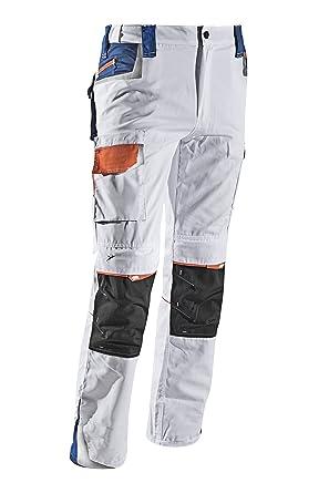338aa623a68a Dynamic von Malerkleider.de Malerhose Stuckateur Putzer Arbeitshose Colour  Weiß mit Kniepolstertaschen und Komfort-