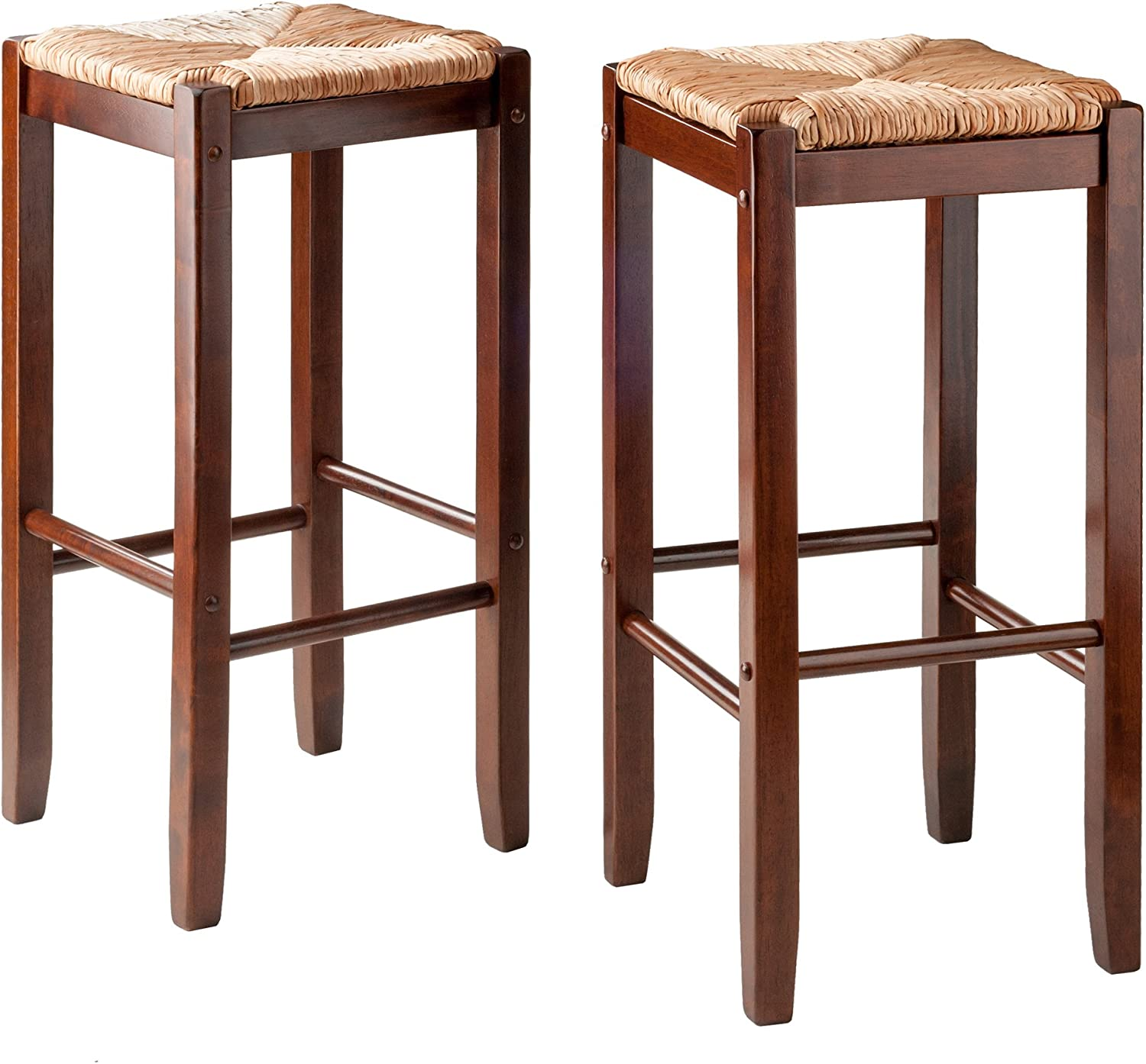 Wooden square seat backless bar stool