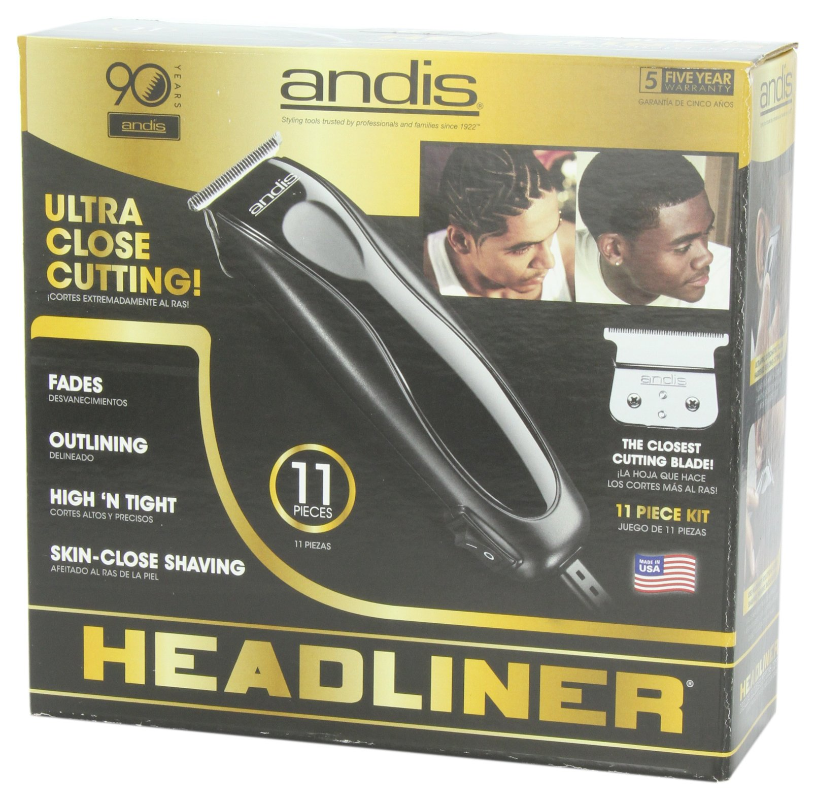 Andis Skin-Close Headliner 11-Piece Hair Clipper/Beard Trimmer Kit, Black, Model LS-2 (29775) by Andis (Image #7)