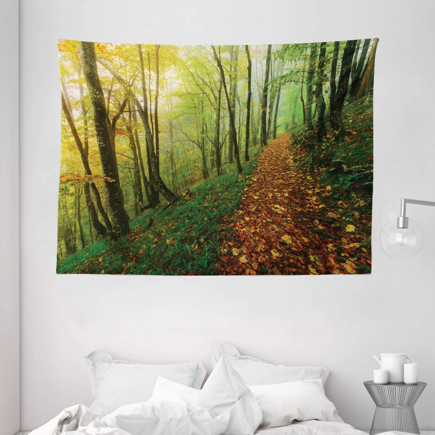 Ambesonne National Parks Home Decor Tapestry, Surreal Foggy Deep in Forest Eco Path Full of Leaves Landscape, Wall Hanging for Bedroom Living Room Dorm, 80 W X 60 L Inches, Green Yellow