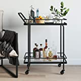 Nathan James Sally Rolling Bar or Cart for Tea or Cocktail, 2-Tiered Glass and Metal, Black