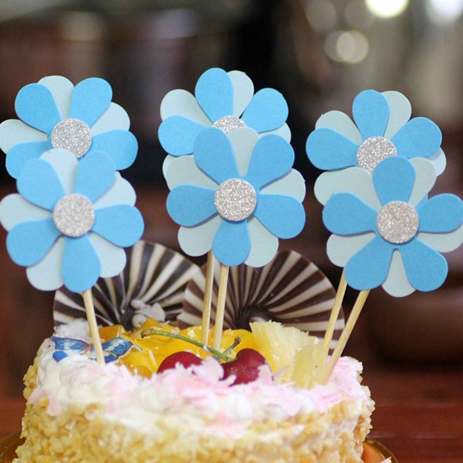 NOMSOCR 6Pcs Beautiful Flowers Cupcake Cake Toppers Dessert Table Food Picks For Kids Birthday Party Decorations Supplies Blue Amazon Grocery