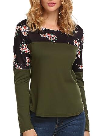 f85b9c3543b12 SE MIU Women s Crew Neck Long Sleeve Print Patchwork Blouse Top Tee Shirt