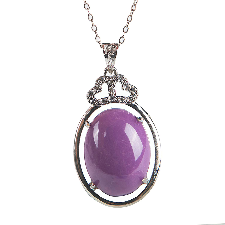 LiZiFang Genuine Purple Natural Phosphosiderite Gemstone Silver Jewelry Pendant