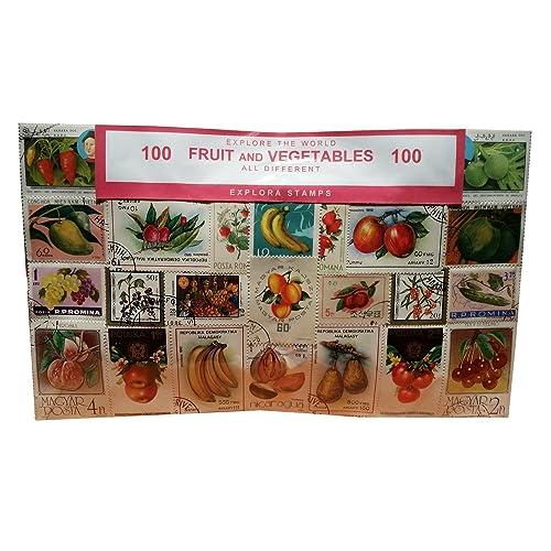 Artistic Lot de 100tampons, monde, dans le monde entier, les fruits et légumes miniature de collection philatélique. Souvenir/Speicher/Memoria. 100timbres différents. Timbre-poste/BRIEfMARKE/f