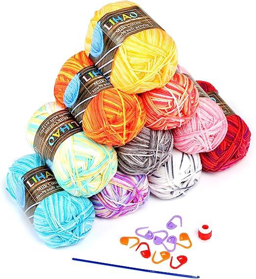 LIHAO 10 x Lanas para Tejer Ovillos de Lana Multicolor Estambre ...