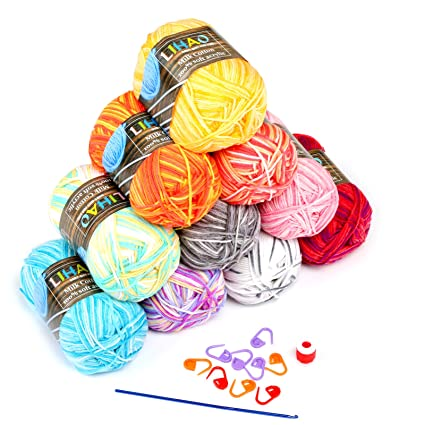 LIHAO 10 x Lanas para Tejer Ovillos de Lana Multicolor Estambre Acrílico  Algodón 6576213f661