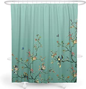 LIVETTY Fabric Floral Shower Curtain Set Aqua Green Ombre Watercolor Decorative Bath Curtain Modern Bathroom, Machine Washable, Climbing Flowers Bird and Leaves, 72