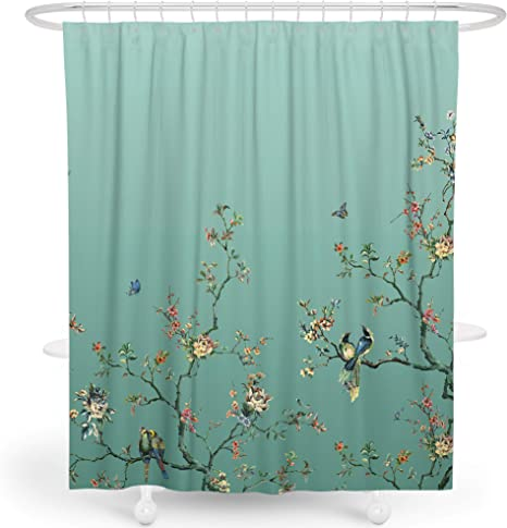 Livetty Floral Shower Curtains Shower Curtain For Bathroom Machine Washable Fabric Waterproof Shower Curtain Sets With 12 Hooks Multi Color 72 X 72 Green Home Kitchen