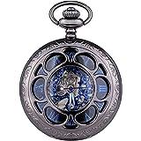 WOLFTEETH 機械式 手巻き 懐中時計 チェーン付き 3047 ブルー